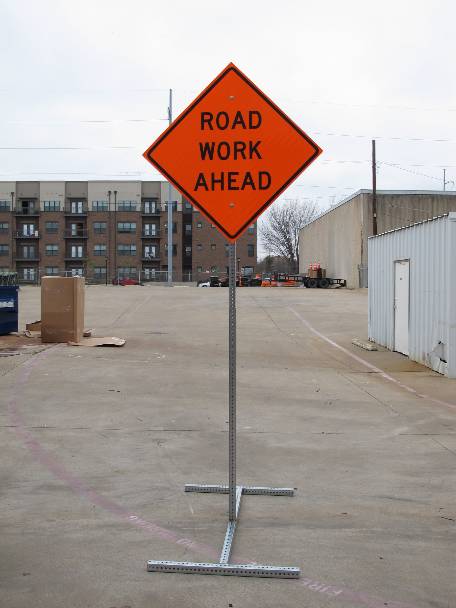 MUCTD Road Work Sign with Site Barricade T-Leg Stand